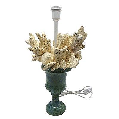 Base de abajur taça M acqua com corais clear Zanatta Casa