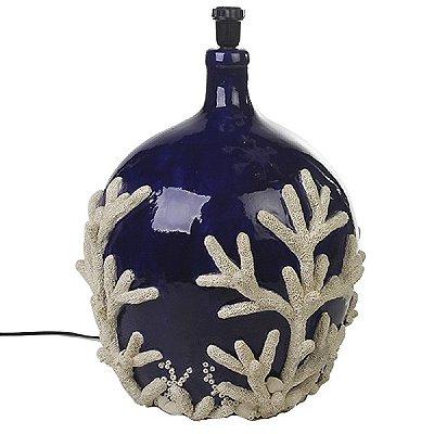 Base de abajur azul com aplicação de coral em faiança Zanatta Casa