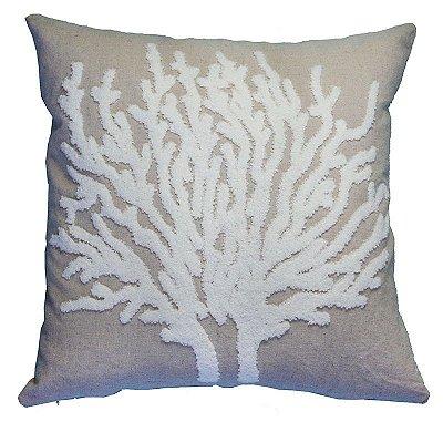 Almofada linho coral bordado em relevo 43x43