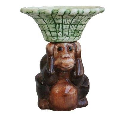 Macaco com cesta na cabeça(22cm altura)