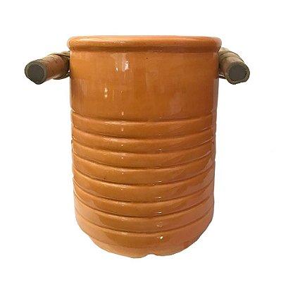 Pote cerâmica laranja para colher de pau