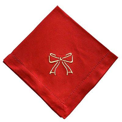 Guardanapo de Natal vermelho com laço bordado dourado (cj 6)