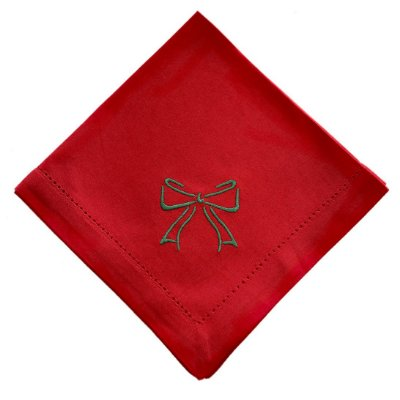 Guardanapo de Natal vermelho com laço bordado verde (45x45)