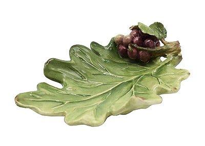 Mini folha de cerâmica com cacho de uva 1 Zanatta Casa