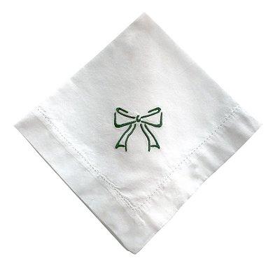 Guardanapo Laço Verde Bordado