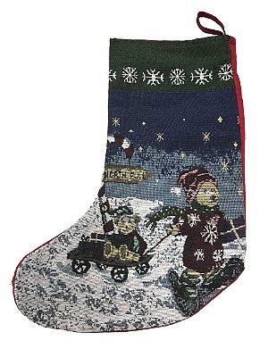 Meia Natal ursinho na neve