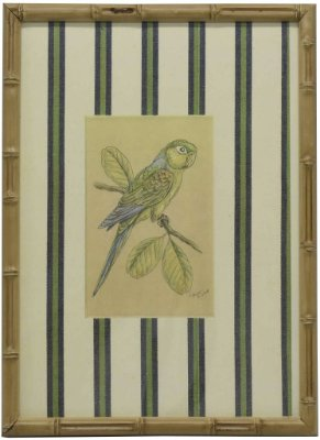 Quadro moldura bambu pássaro 2