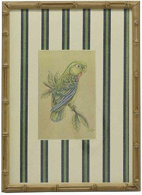 Quadro moldura bambu pássaro 6