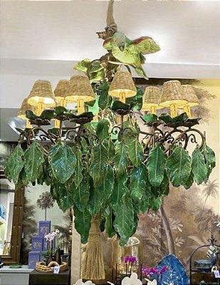 Lustre Zanatta Casa em bronze com folhas e pássaros de cerâmica