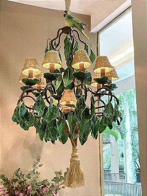 Lustre Zanatta Casa folhas verdes com 2 pássaros