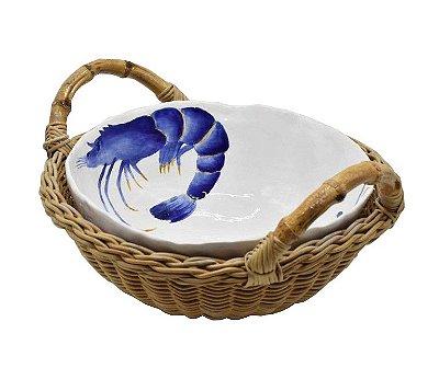 Cesta com alça e bowl M de cerâmica caranguejo e camarão Zanatta Casa