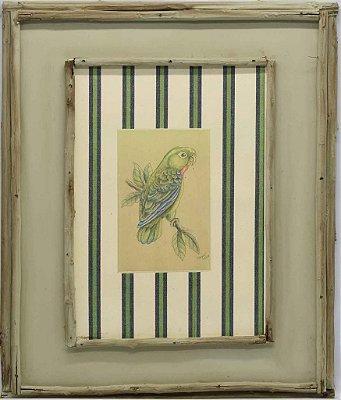 Quadro de pássaros com moldura de galhos 2