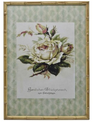 Quadro gravura de rosas com moldura de faux bambu 4