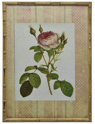 Quadro gravura de rosas com moldura de faux bambu 5