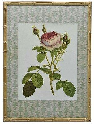 Quadro gravura de rosas com moldura de faux bambu 7
