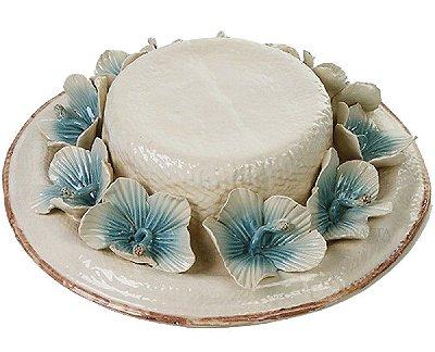 Chapéu faiança com hibisco azul degradê Zanatta Casa