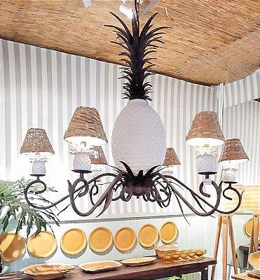 Lustre abacaxi cerâmica branco com cúpula taboa Zanatta Casa