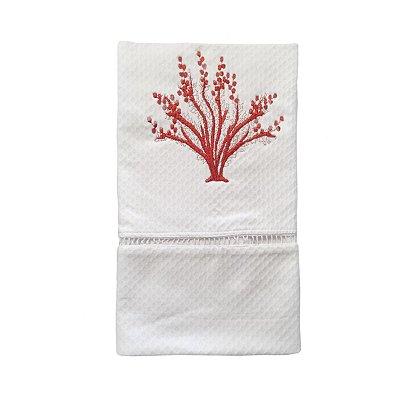 Toalha  Lavabo coral bordado vermelho