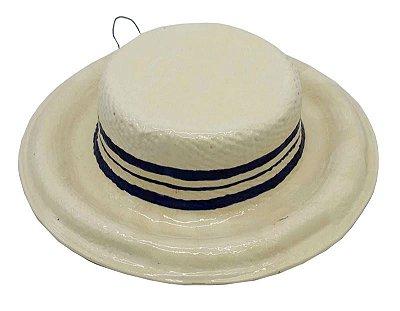 Chapéu na cor palha com aba com tres listras azul Zanatta Casa