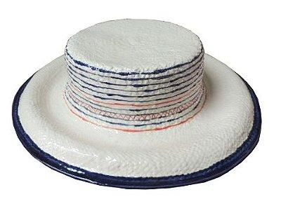 Chapéu faiança friso azul na aba e listras irregulares coral e azul Zanatta Casa