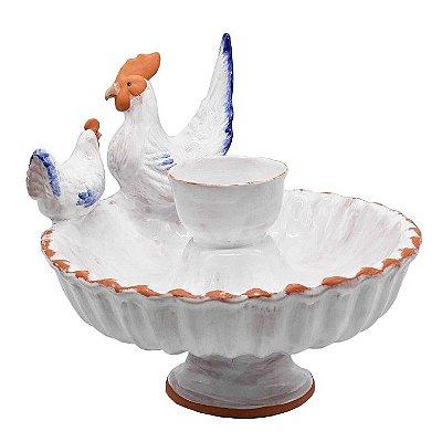 Fonte de galo e galinha G terracota azul e branco Zanatta Casa