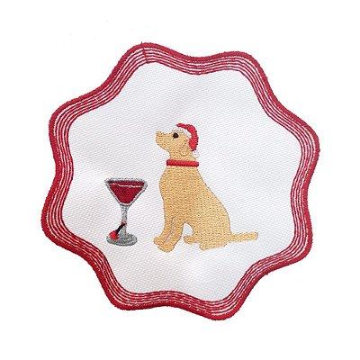 Porta copos bordado cachorro com taça Natal (set com 6)