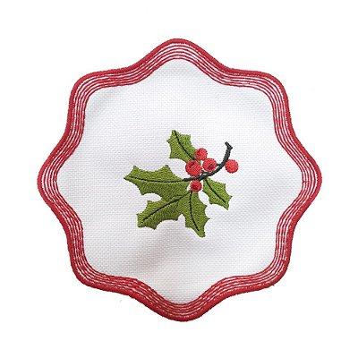 Porta copos bordado azevinho Natal (set com 6)