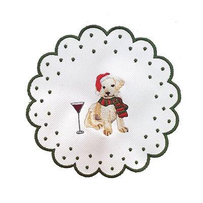 Porta copos bordado cachorro com taça Natal 2 (set com 6)
