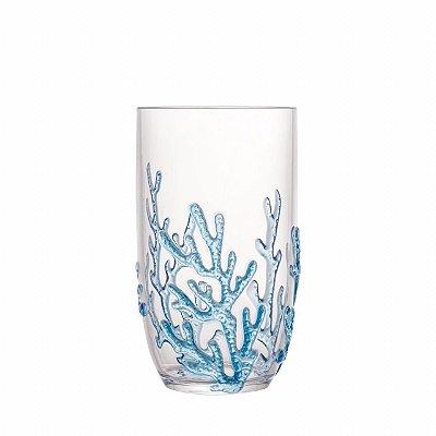 Copo alto acrílico coral azul (cj com 6)