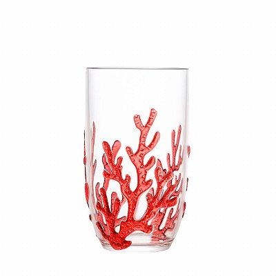 Copo alto acrílico coral vermelho (cj com 6)