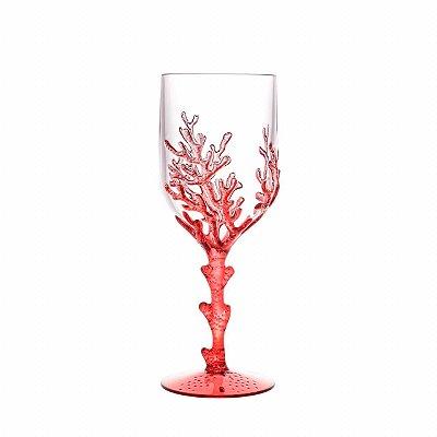 Taça acrílico coral vermelho (cj com 6)