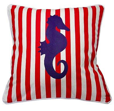Capa de Almofada Cavalo Marinho Listras Vermelha