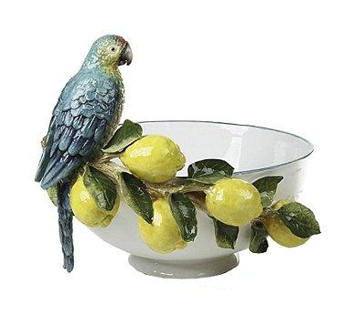 Cachepot G branco aplicação limões, friso na borda com pássaro Zanatta Casa
