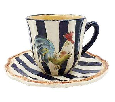 Xícara café galo com listras azuis Zanatta Casa
