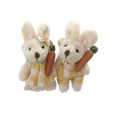 Porta guardanapo casal coelhos xadrez amarelo