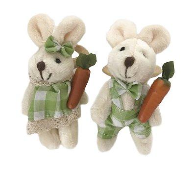 Porta guardanapo casal coelhos xadrez verde