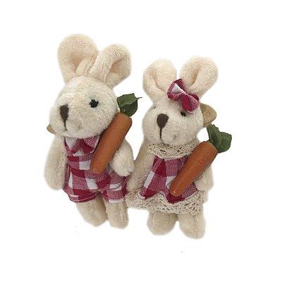 Porta guardanapo casal coelhos xadrez rosa escuro