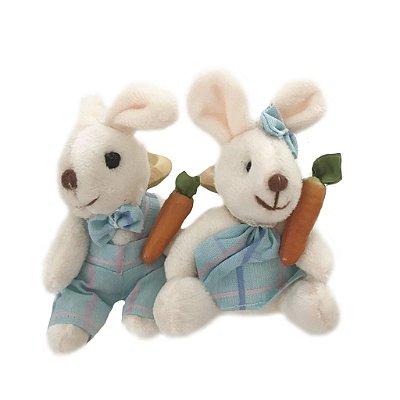 Porta guardanapo casal coelhos xadrez azul