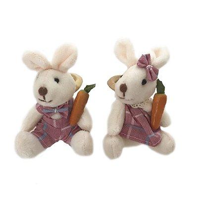 Porta guardanapo casal coelhos xadrez rosa