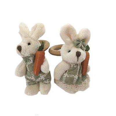 Porta guardanapo casal coelhos verdes