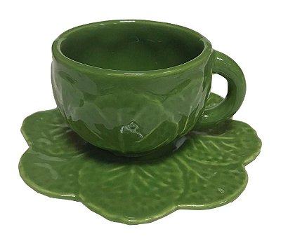 Xícara de café folha alface (jogo 2)