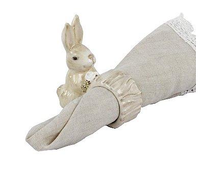 Porta guardanapo de coelho com rosa na mão Zanatta Casa