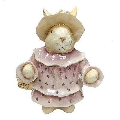 Coelha rosa  com cestas de rosinhas Zanatta Casa