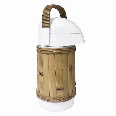 Garrafa térmica revestida bambu p com alça junco