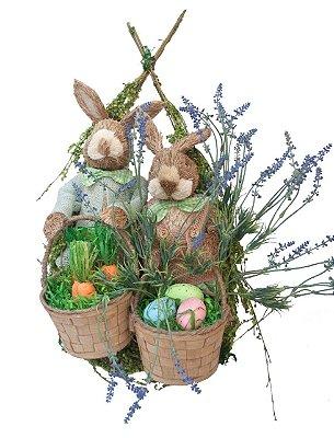 Guirlanda de páscoa 2 coelhos com lavanda