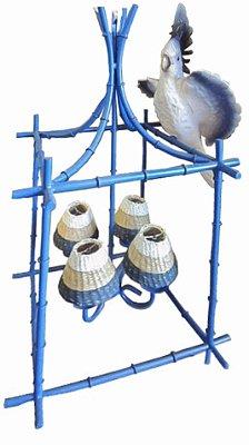 Gaiola Azul com Calopsita e Cupulas listadas