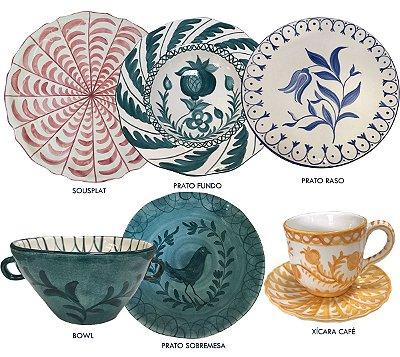 Kit Mediterrâneo 6 peças: sousplat, prato raso, fundo, sobremesa, bowl e xícara café
