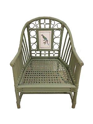 Cadeira chino verde com pássaro