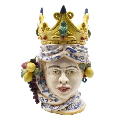 Cabeça Moura feminino com coroa e frutas Zanatta Casa