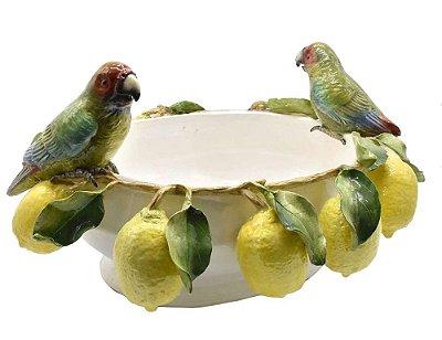 Floreira P com borda limões e casal papagaio Zanatta Casa
